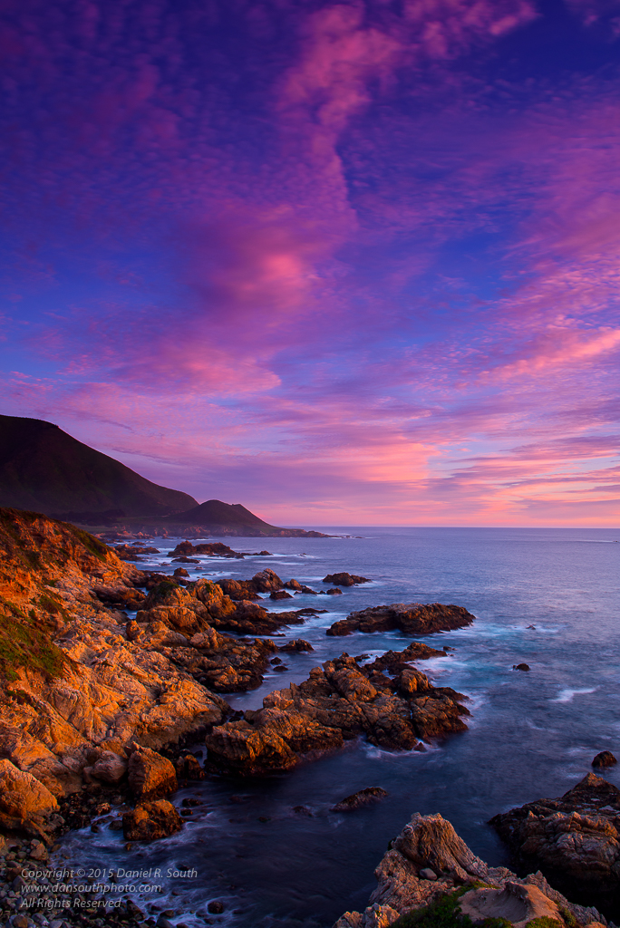 a photo of the big sur coast california at sunset