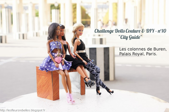 Photos Barbie aux colonnes de Buren à Paris