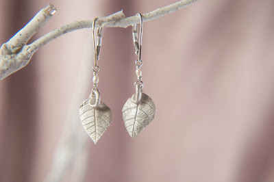 Bridal wedding Elvish Leaf Drop Earrings in Silver