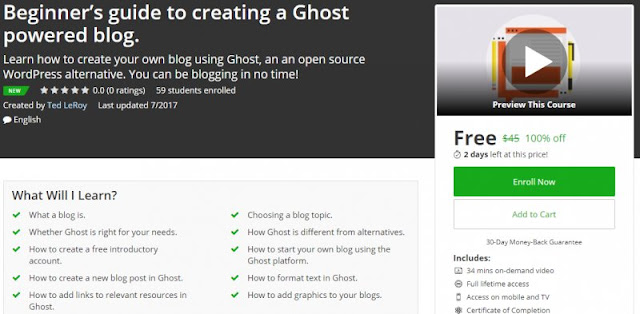 [100% Off] Beginner's guide to creating a Ghost powered blog.| Worth 45$