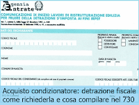 Acquisto condizionatore: detrazione fiscale come richiederla