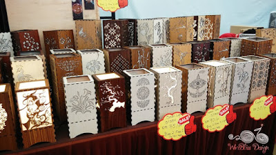Carved wooden table lamps at Sarawak Craft Festival 2015