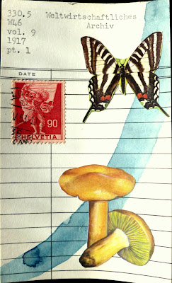 butterfly swiss postage stamp mushrooms fungi library card Dada Fluxus mail art collage