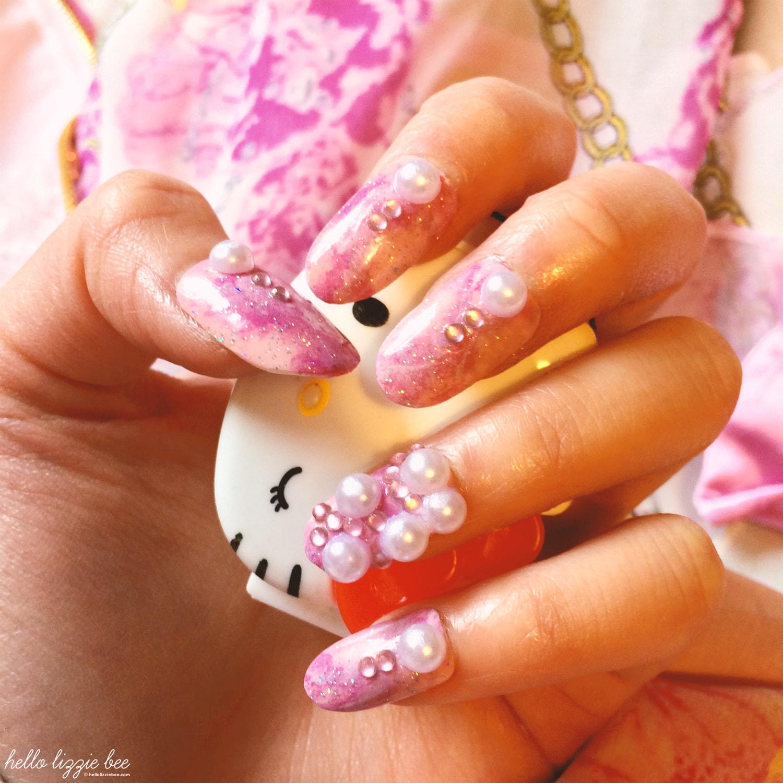 pink marble nails, nail art, gyaru nails