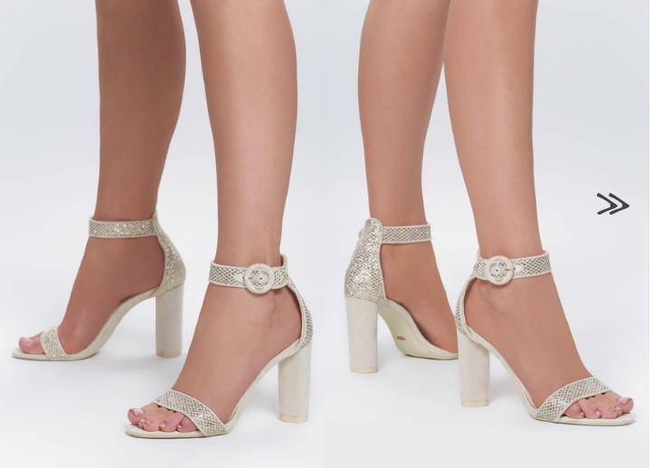 Sandale cu toc Evora Bej elegante din gliter de ocazii