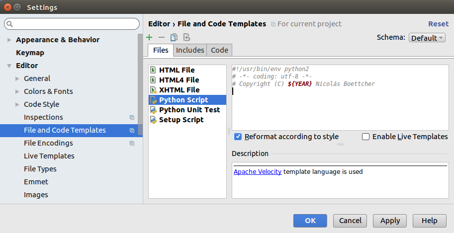 How to write a file code template in Pycharm