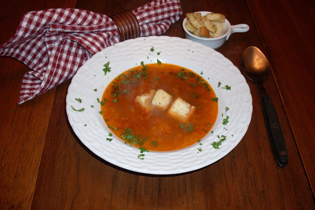 Roasted Garlic soup, delicious and so good for you with lots of garlic.
