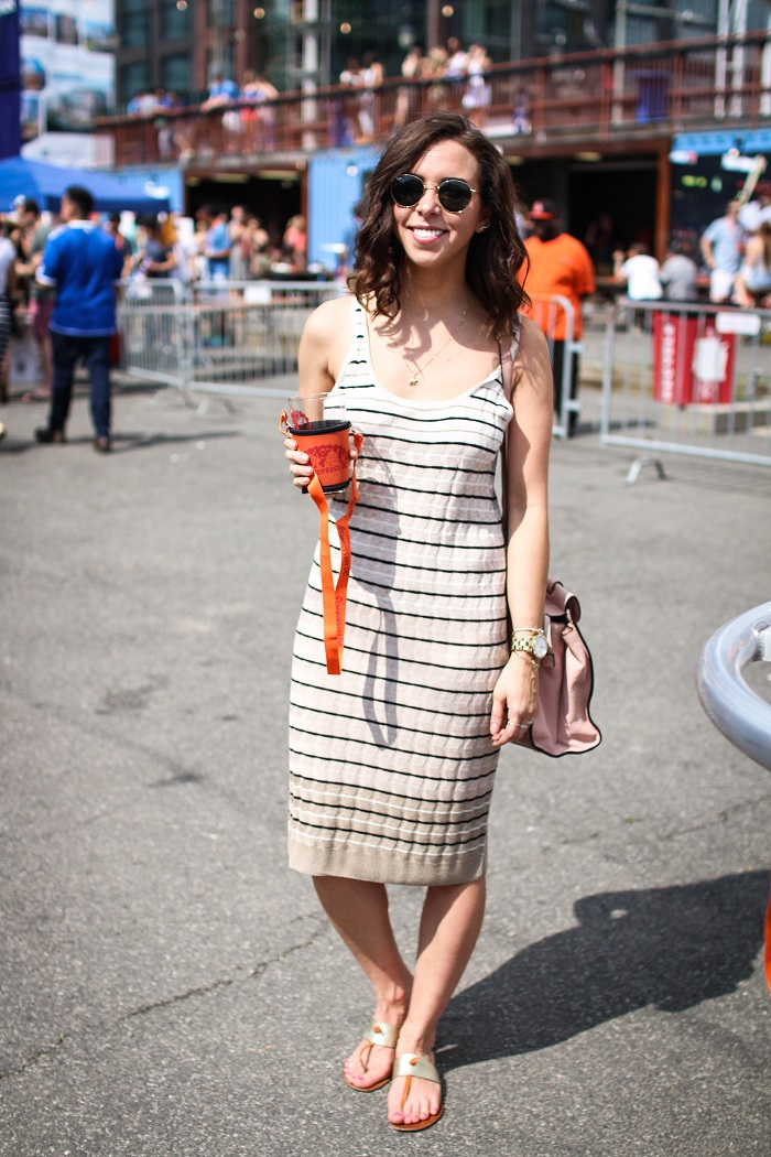 what to wear to a beer festival. summerfest dc | A.Viza Style | loft midi dress - rayban round sunglasses. joie sandals