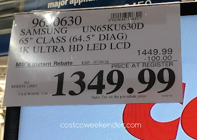 Costco 9650950 - Deal for the Samsung UN65KU630D 4K UHD TV at Costco