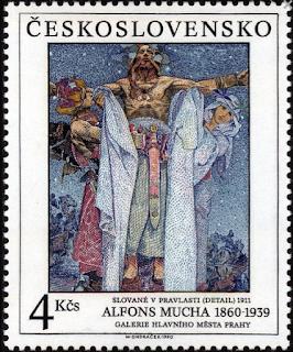 Mucha på frimærker