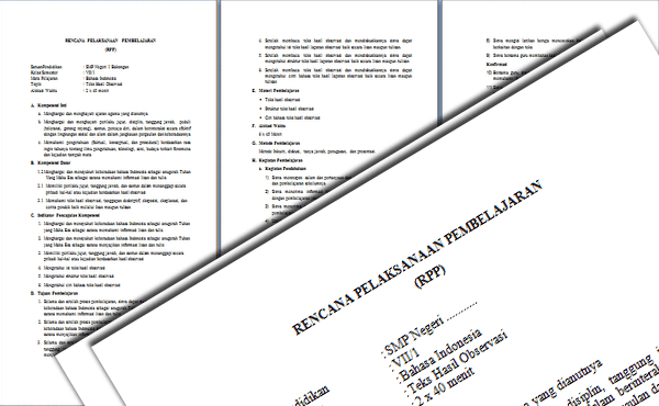 RPP Bahasa Indonesia Kelas 7 Kurikulum 2013 Revisi 2016 Semester 1 dan 2