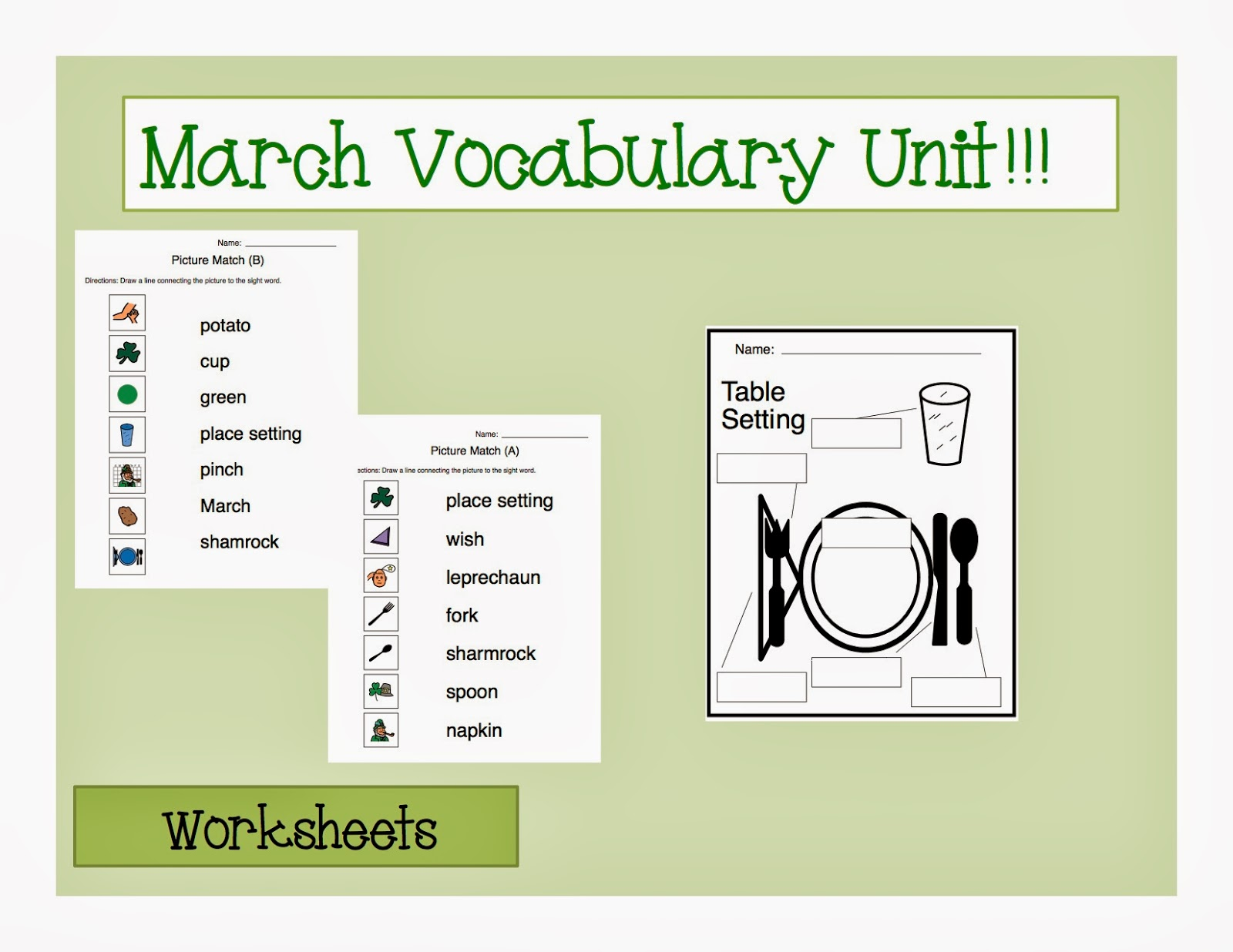 March Vocabulary Unit