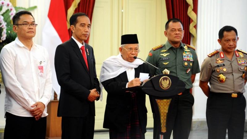 Ma'ruf Amin bersama Jokowi, Panglima TNI dan Kapolri