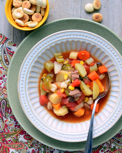 Homemade Vegetable Beef Soup, another healthy vegetable soup ♥ AVeggieVenture.com.