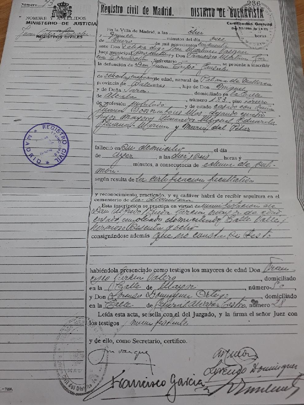 Certificado de defunción de Juan Capó González