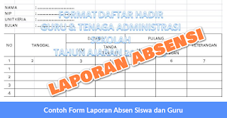 Contoh Form Laporan Absen Siswa dan Guru