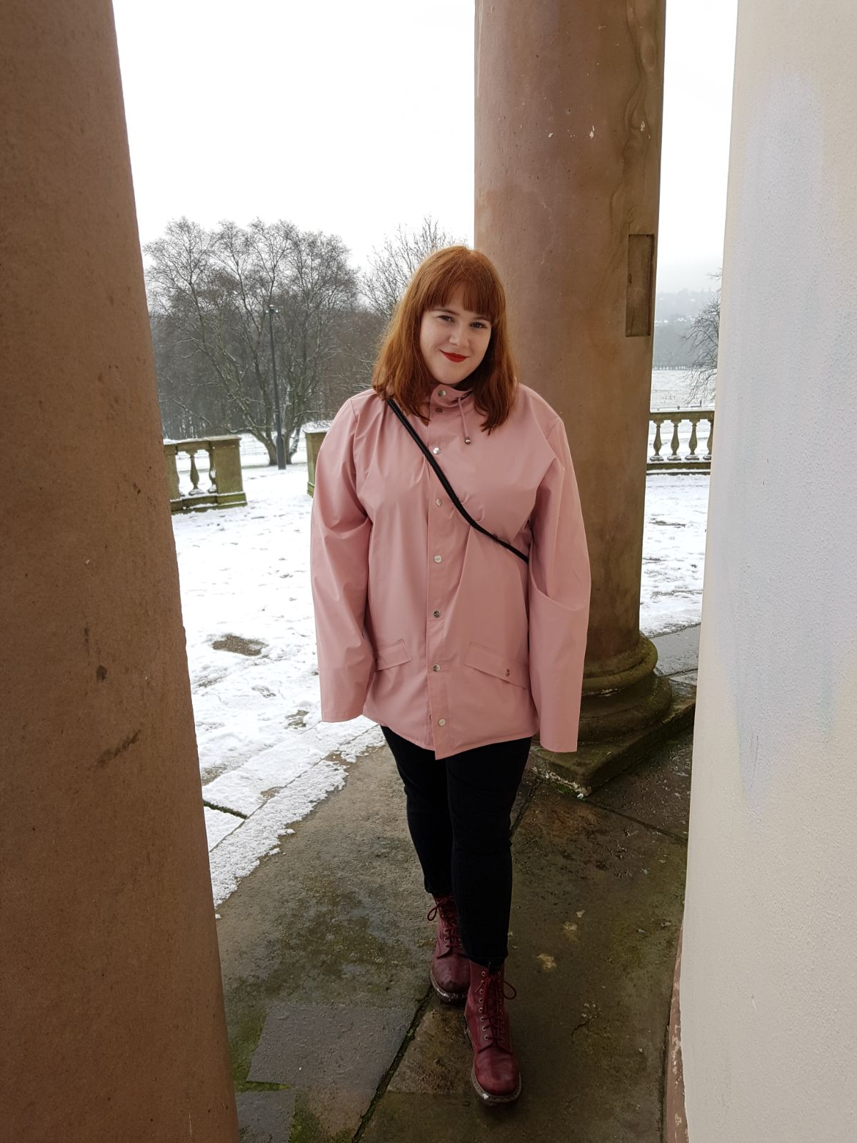 Big pink raincoat, Heaton Park in the snow, December 2017