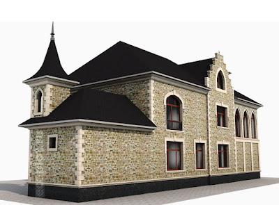 Перспективная проекция - вид здания сзади - проект реконструкции