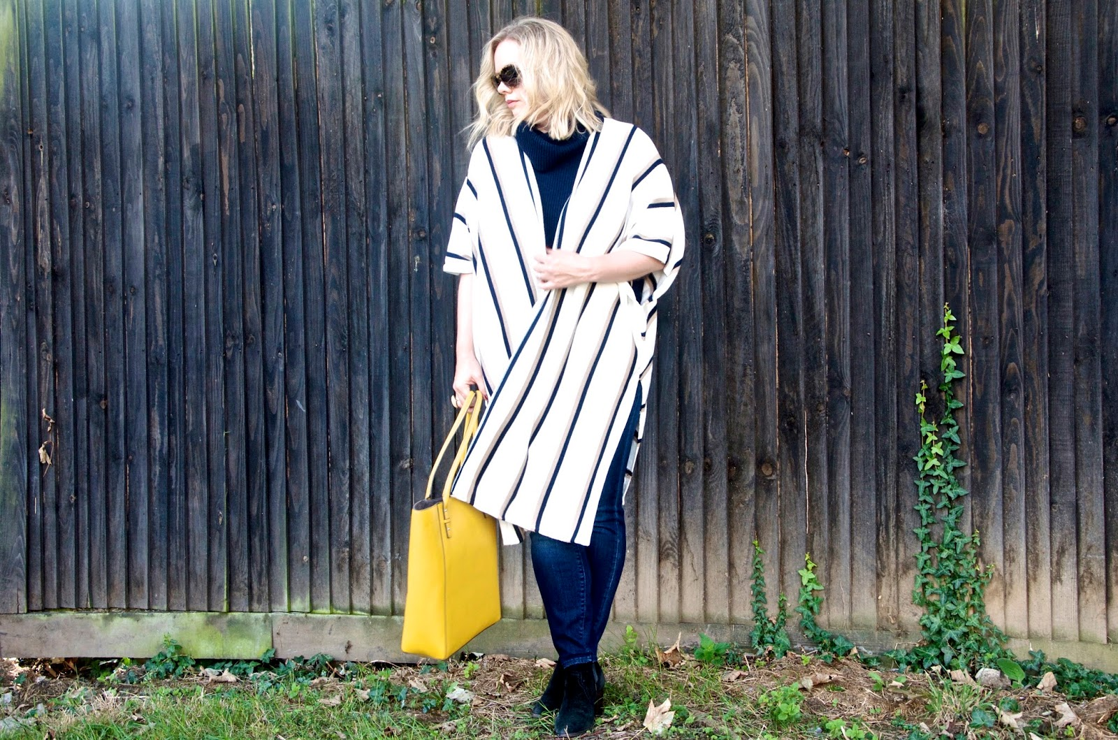 Striped Navy, White and Khaki long kimono style cardigan