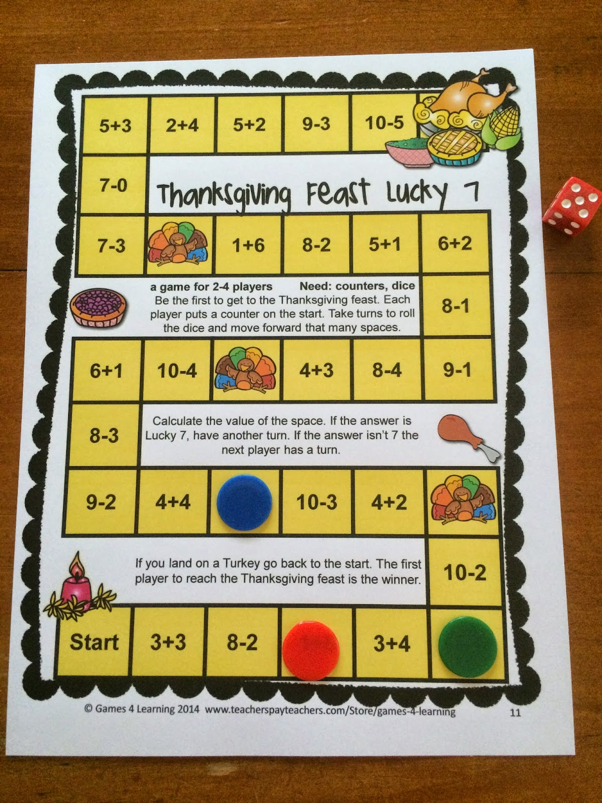 Fun Games 4 Learning  Thanksgiving Math Games Thanksgiving Math Games