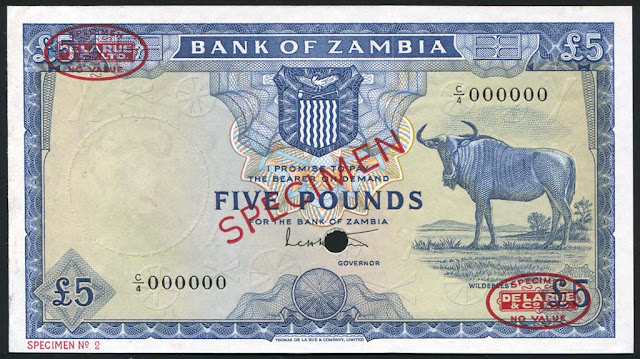 Zambia banknotes currency notes 5 pounds banknote bill