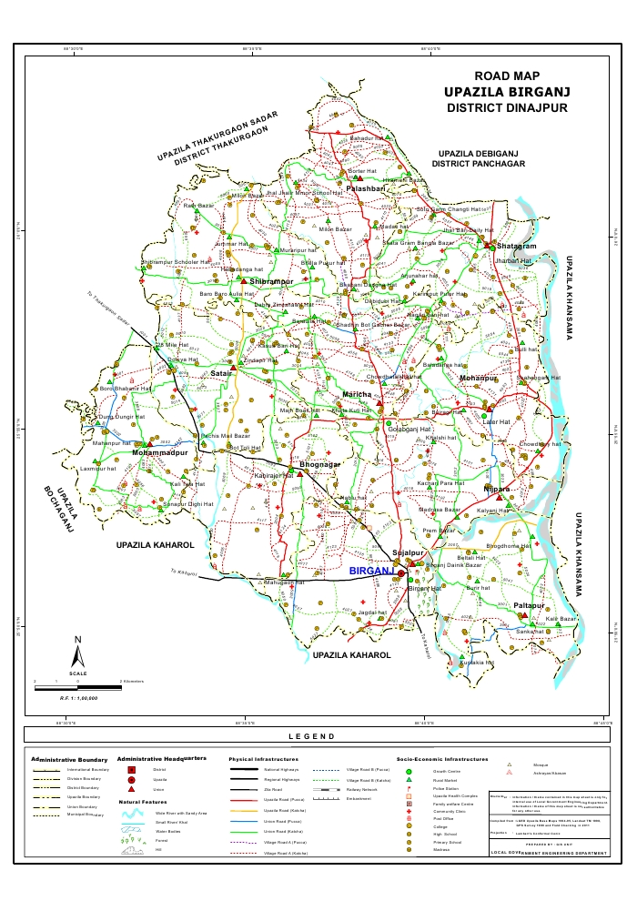 Birganj Upazila Road Map Dinajpur District Bangladesh