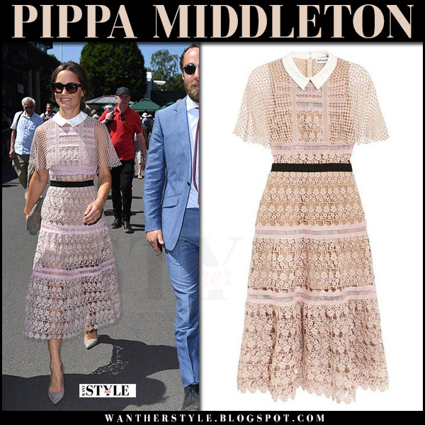Pippa Middleton in pink lace midi dress from Self Portrait what she wore july 5 2017 wimbledon