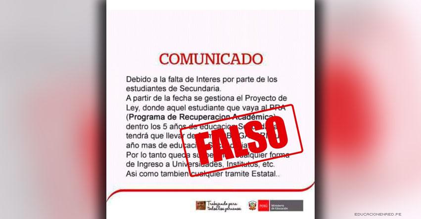 MINEDU advierte sobre falso comunicado en redes sociales - www.minedu.gob.pe