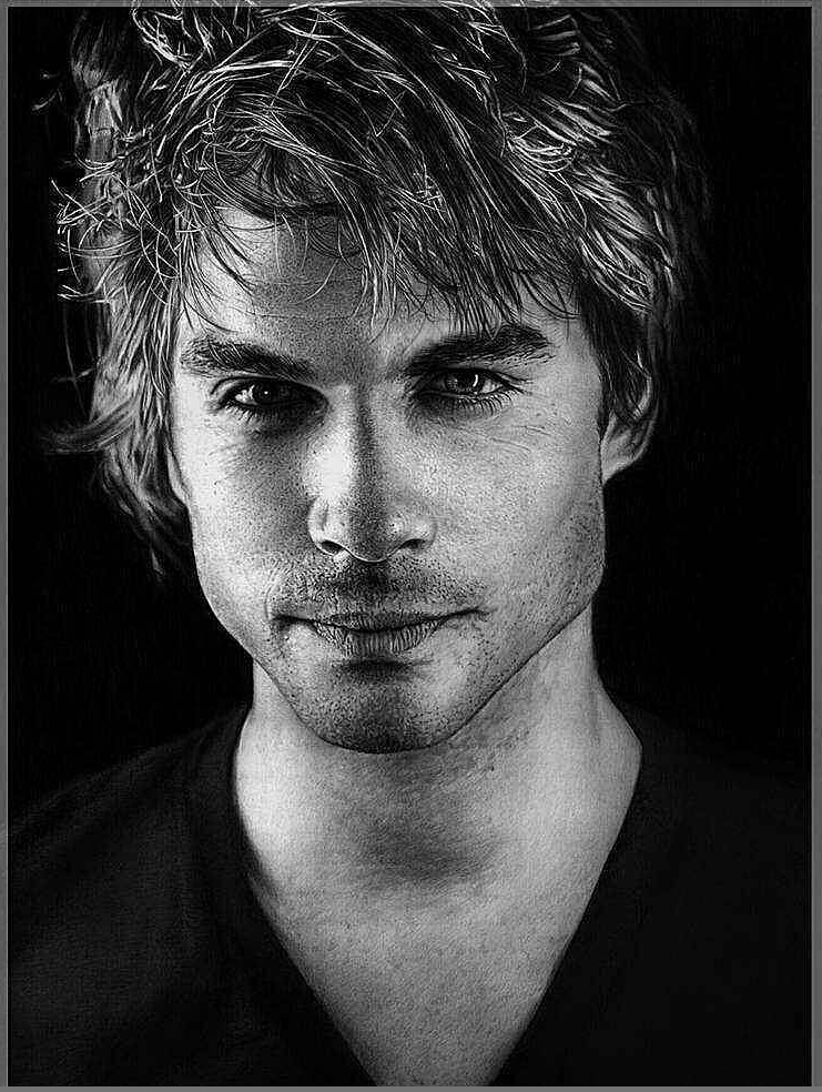 07-Ian-Somerhalder-vampire-diaries-Olga-Larionova-Melamory-Realistic-Black-and-White-Portraits-of-Celebrities