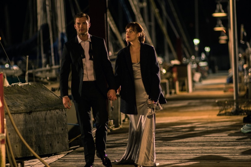 Jamie Dornan and Dakota Johnson take a romantic walk in Fifty Shades Darker still