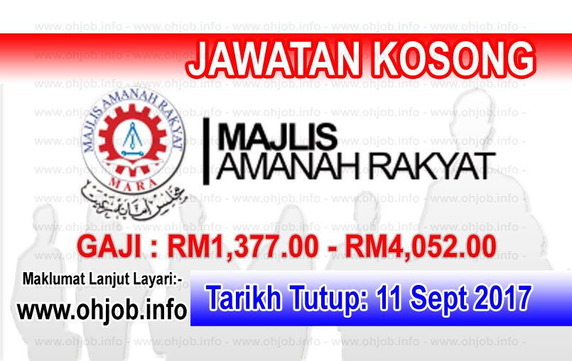 Jawatan Kerja Kosong Majlis Amanah Rakyat - MARA logo www.ohjob.info september 2017