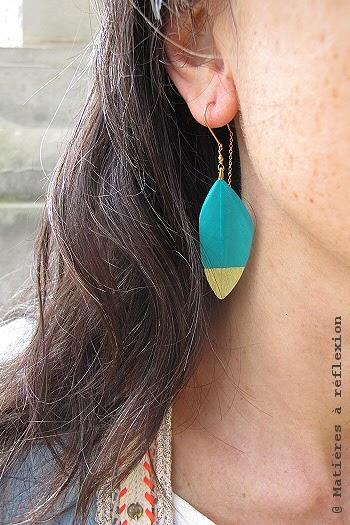 Boucles plumes turquoise Stalactite bijoux