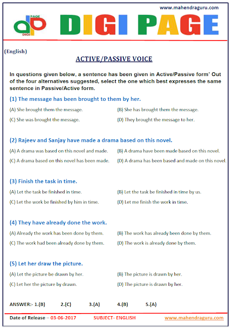 DP | ACTIVE/PASSIVE VOICE | 3 - JUNE - 17 |
