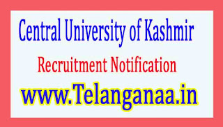 Central University of Kashmir Recruitment Notification 2017
