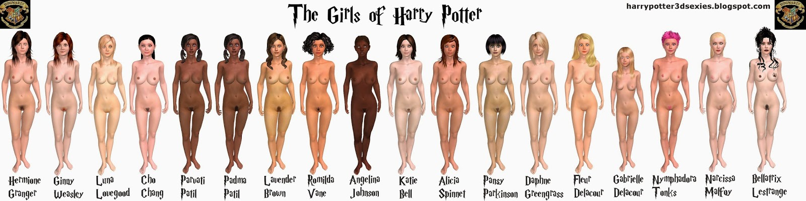 harry potter girls of hogwarts nude naked hermione granger emma watson porn sex 3d animated