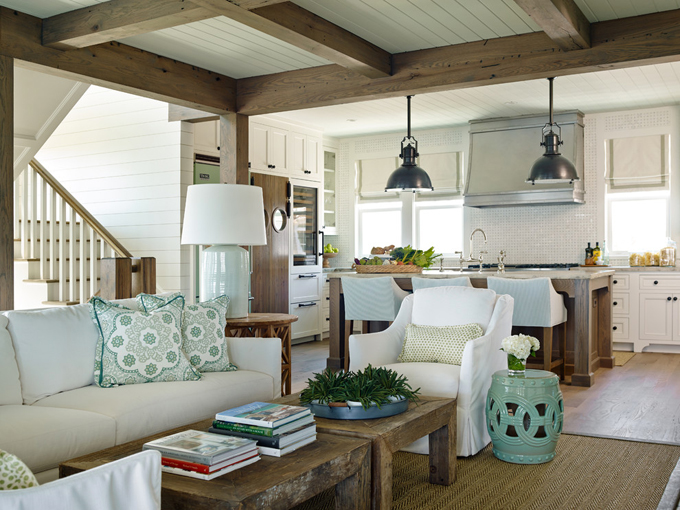 Coastal style elegant seaside living in seafoam for Beach house interior design