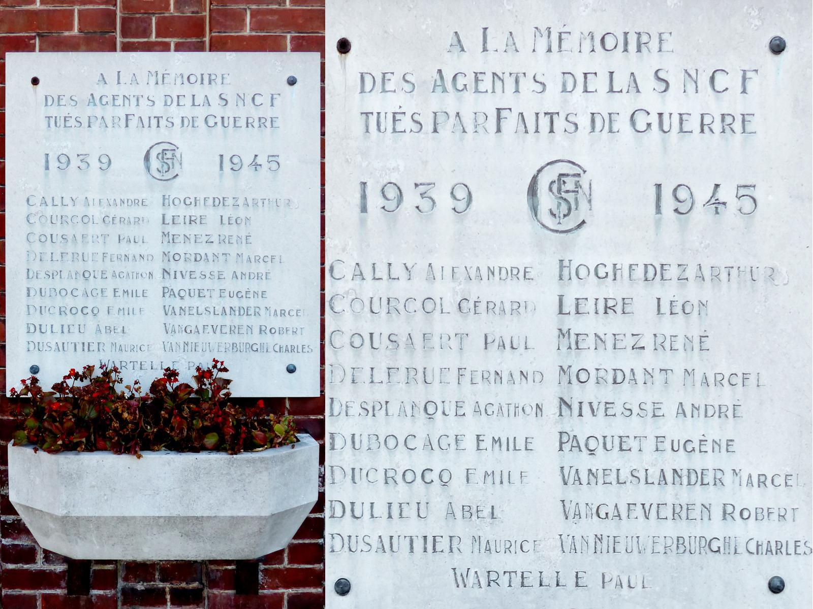 Gare de Tourcoing - Plaque à la Mémoire des Agents SNCF tués lors de la Guerre Mondiale