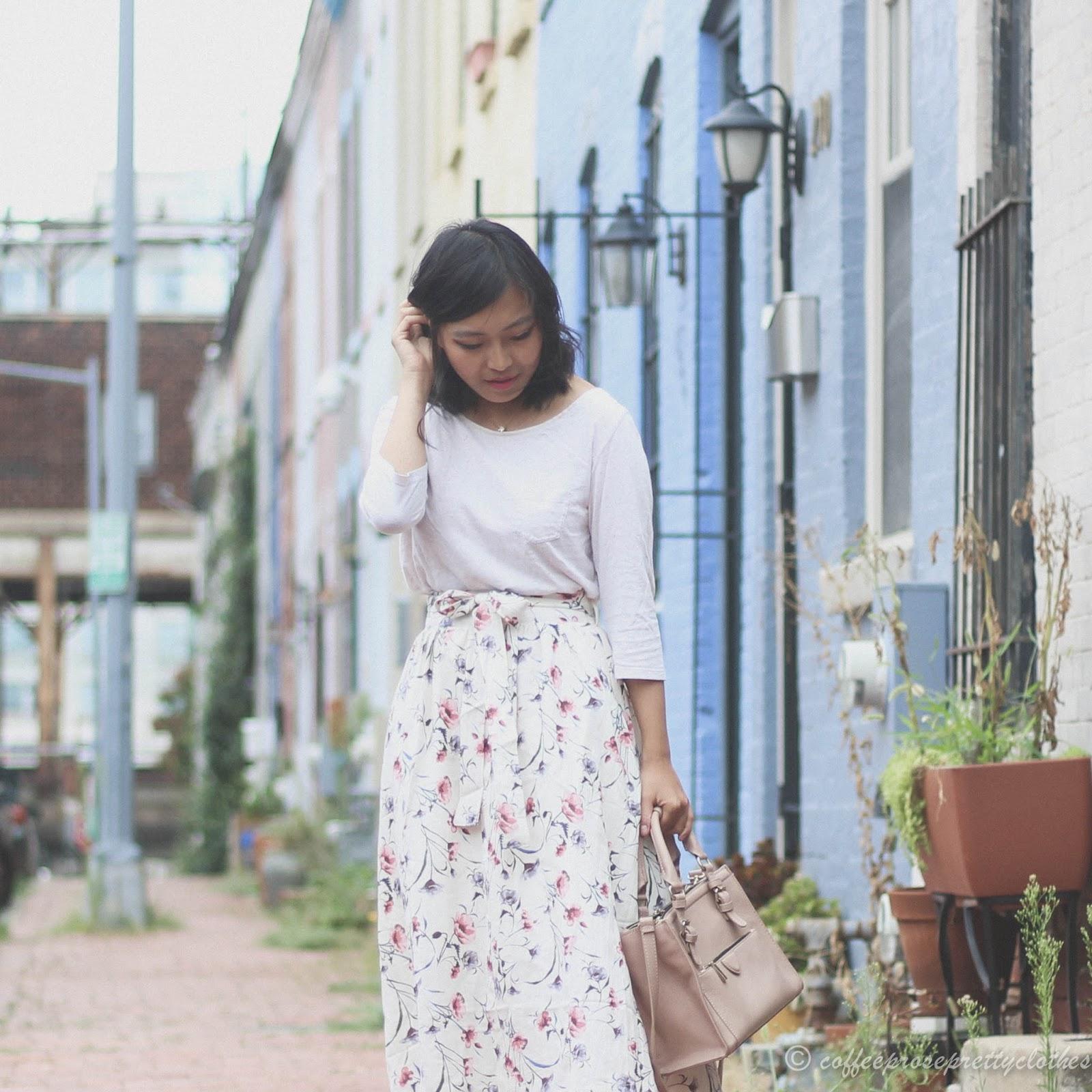 Floral midi skirt, espadrille wedges, vintage