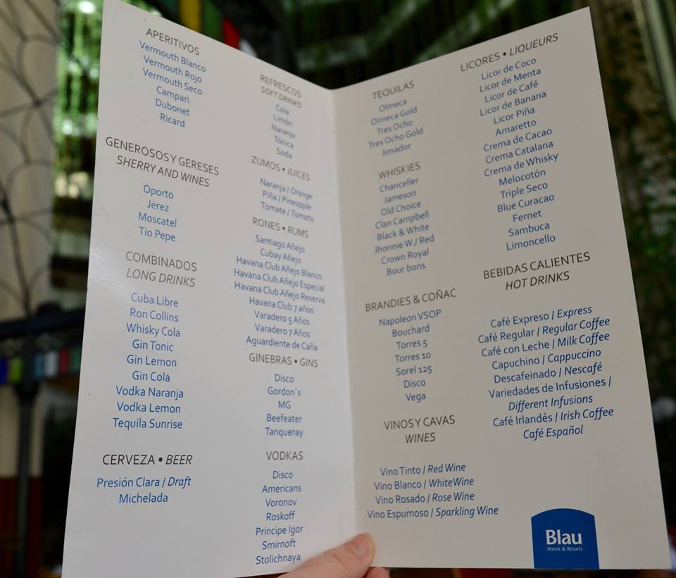 The all inclusive Cocktail menu at Blau Varadero, Cuba - bar menu