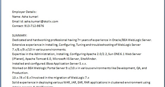 weblogic administrator sample resume format in word free download