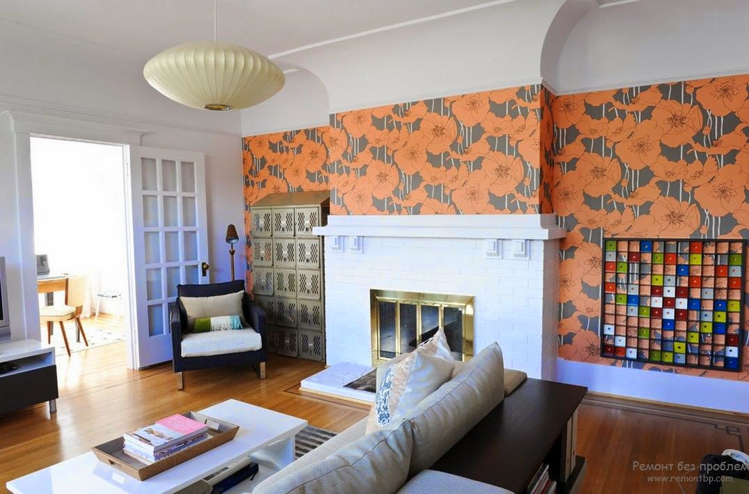 orange living rooms ideas trendy living room wallpaper ideas colors patterns and types 17905