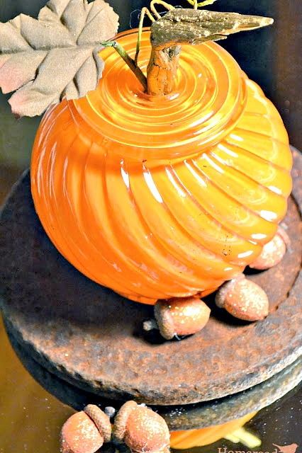 glittered acorns and glass globe pumpkin