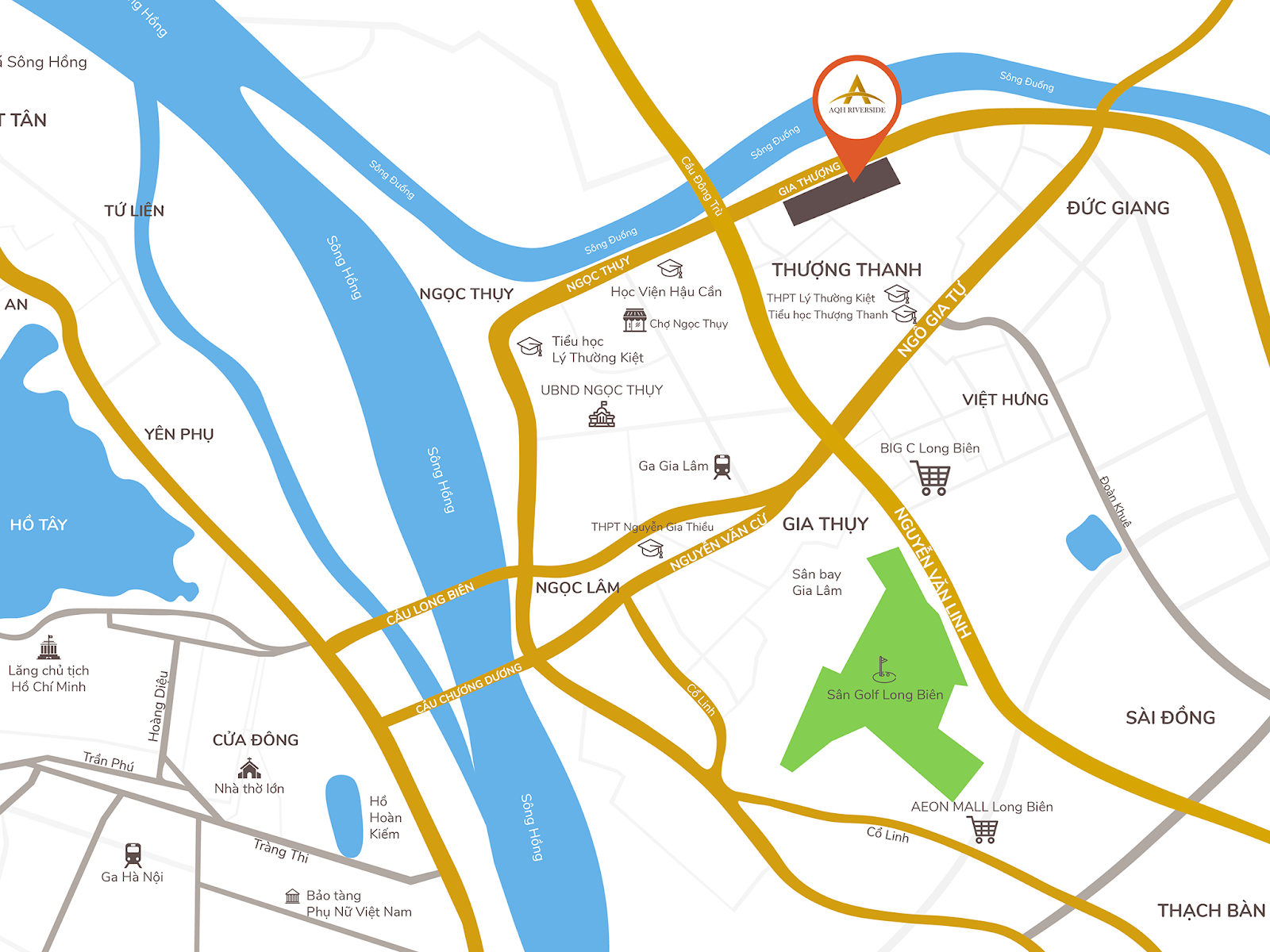 Vị trí dự án chung cư AQH Riverside.