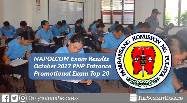 Top 20 Passers: October 2017 NAPOLCOM exam results