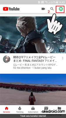 Memilih icon profil Aplikasi Youtube Android