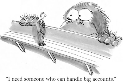"in a cartoon, a business man talks to a giant gorilla saying,""I need someone who can handle big accounts."""