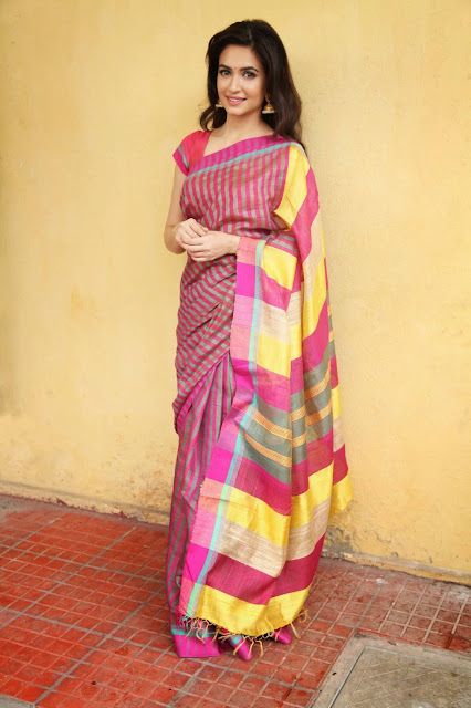 Kriti Kharbanda in Striped Silk Saree