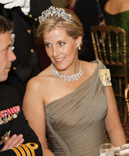 Image showing the Countess of Wessex wearing the royal Five Aquamarine Tiara