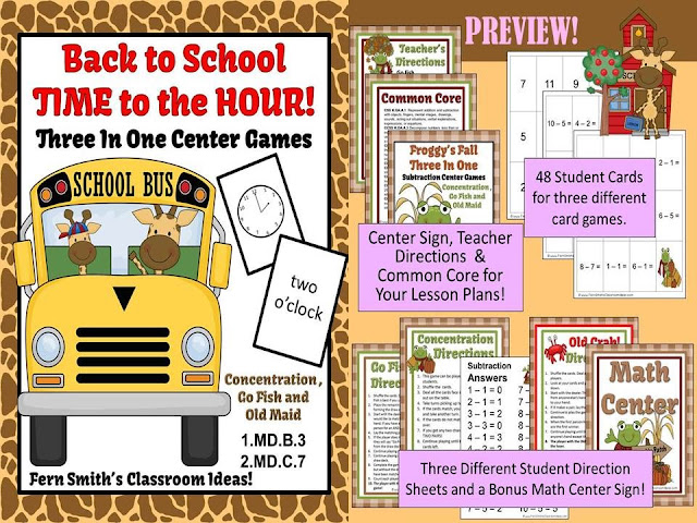 Fern Smith's Classroom Ideas, Time to the Hour for Back to School, Back to School Parts of a Whole Fractions Center Games, Back to School Parts of a Group Fractions Center Games all available at Teacherspayteachers.