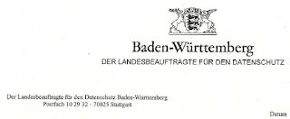 Briefkopf Der Beauftragte für den Datenschutz Baden-Württemberg